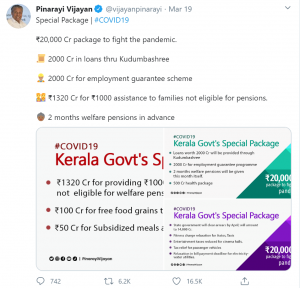 A tweet from Kerala CM, Pinarayi Vijayan, prior to the central government's lockdown orders, was among the most retweeted messages related to COVID